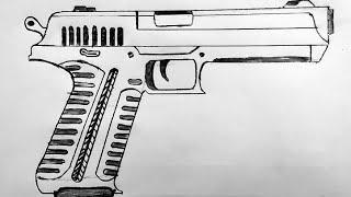 gun drawing draw easy pistol