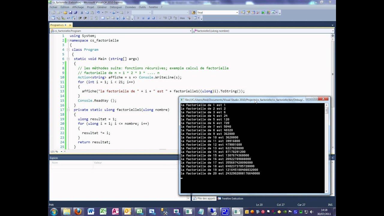 Tutoriel 29 factorielle en C# en français Méthode récursives