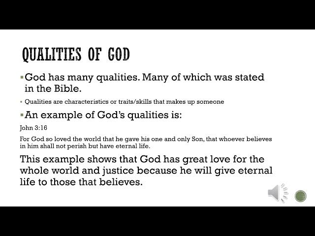 Teacher Adliza-Qualities of God