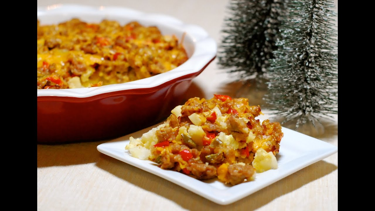 sausage hash brown casserole christmas youtube. Black Bedroom Furniture Sets. Home Design Ideas