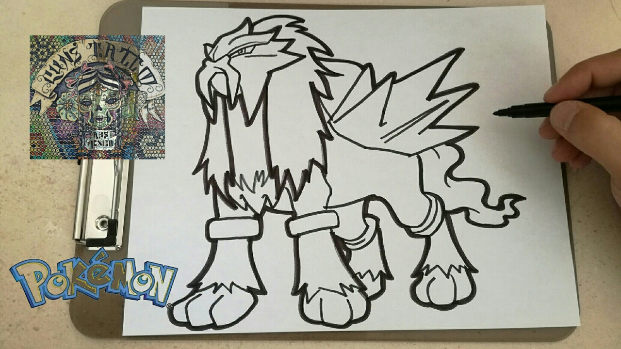 Como Dibujar Al Pokemon Legendario Entei How To Draw Entei