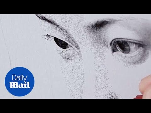 Artist Draws Portrait Of Woman Using Stippling Technique - Daily Mail