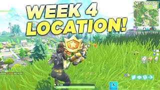 """Fortnite """"Search between a Gas Station, Soccer Pitch and Stunt Mountain"""" Location Week 4 Battle Star"""