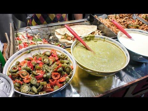 London Street Food. Quesadillas and Burritos from Mexico and KOREAN Burritos of Bulgogi Meat