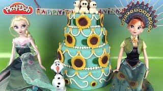 Frozen Fever Birthday Party Cake Play Doh Fête givrée Anna Anniversaire Reine des Neiges