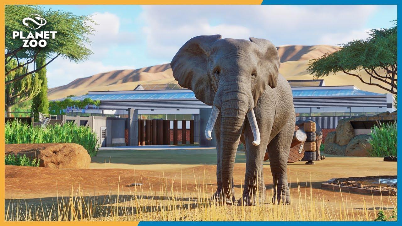 Creating an elephant habitat in Planet Zoo