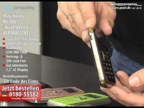 "simvalley MOBILE Mini-Handy RX-180 ""Pico INOX BLACK V.4"" VERTRAGSFREI"