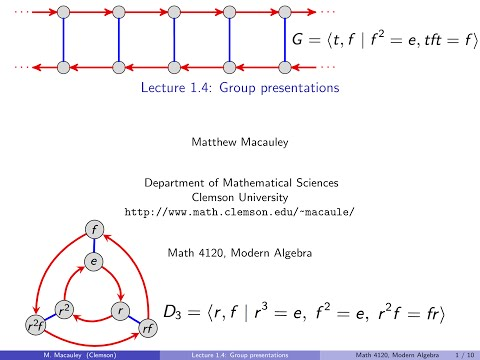 Visual Group Theory, Lecture 1.4: Group presentations
