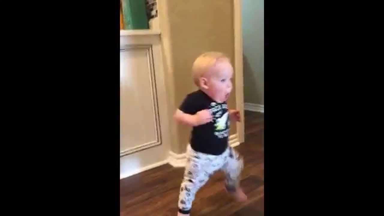 Baby Runs Into Room And Turns Around