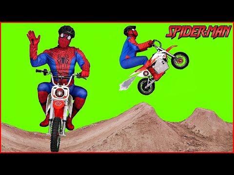 Superhero Spiderman Rides His New Motorcycle Superheroes in Real Life Fun
