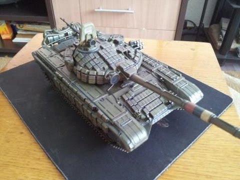 Сборка советского основного боевого танка Т-72Б - Звезда 3550.  Масляные точки, смывка