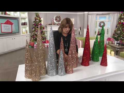 Set of 3 Sequined & Glittered Graduated Cone Trees on QVC