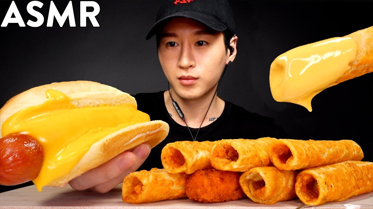 Asmr Cheesy Spicy Hot Dog Tacquitos Mukbang No Talking Eating Sounds Zach Choi Asmr