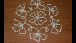 Video simple flower kolam with 7 to 4 interlaced dots-chukkala muggulu with dots-rangoli flower designs download MP3, 3GP, MP4, WEBM, AVI, FLV April 2018