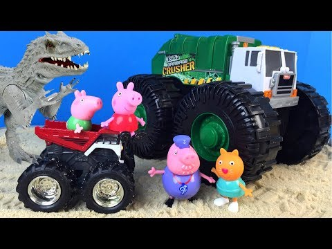 PEPPA PIG SAND PRINTS WITH SHERIFF CALLIE TONKA MIGHTY MACHINES INDOMINUS REX VELOCIRAPTOR MLP