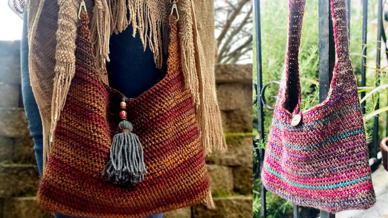 Hand crochet tote bag Knitted wool bag Boho bag crochet handbag