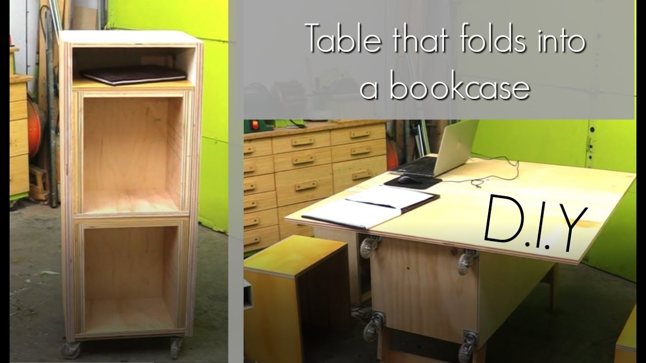 How To Make A Table That Folds Into A Bookcase   Plywood Project