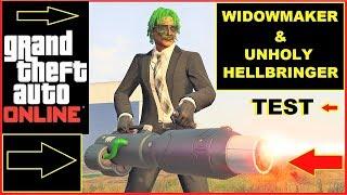 GTA 5 Online new Weapons Unholy Hellbringer and Widowmaker TEST VS Minigun & more , new Laser guns