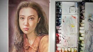 Watercolor step by step how to paint portrait- Advanced level