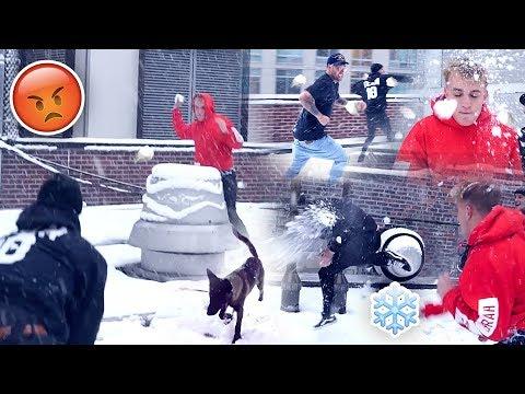 INSANE TEAM 10 SNOWBALL FIGHT **APOLLO GOT HIT**