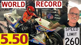 "WORLD RECORD UNEXPECTEDLY SHATTERED BY TOP FUEL NITRO MOTORCYCLE RACER LARRY ""SPIDERMAN"" MCBRIDE!"