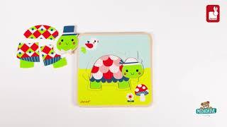 Dřevěné puzzle pro nejmenší Rodinka želviček Janod