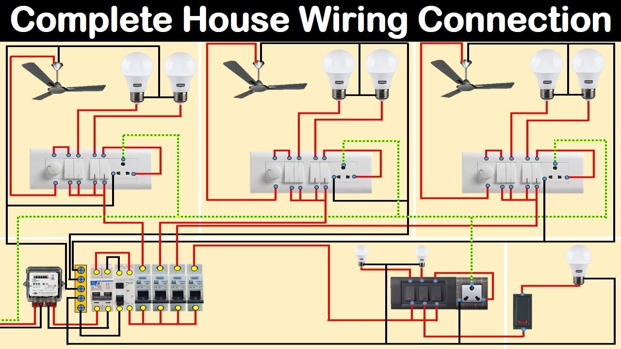 Complete House Wiring Diagram with main distribution board   house wiring    Electrical Technician