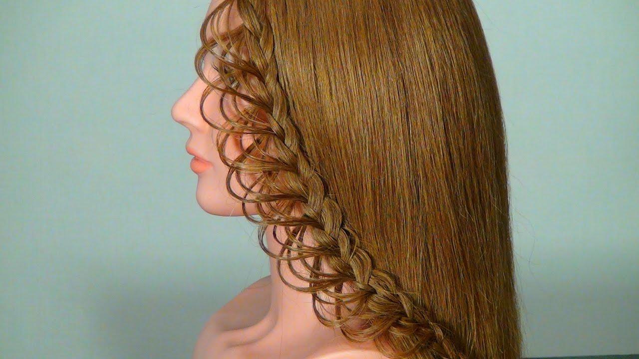 5 Hairstyles: Плетение ажурной косички на длинные волосы. Braided