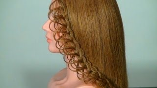 Repeat youtube video Плетение ажурной косички на длинные волосы. Braided hairstyle