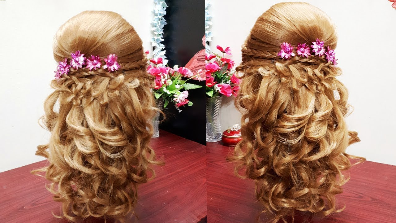 curly prom hairdo for long or medium hair ☆ party hairstyle with puff & french braids