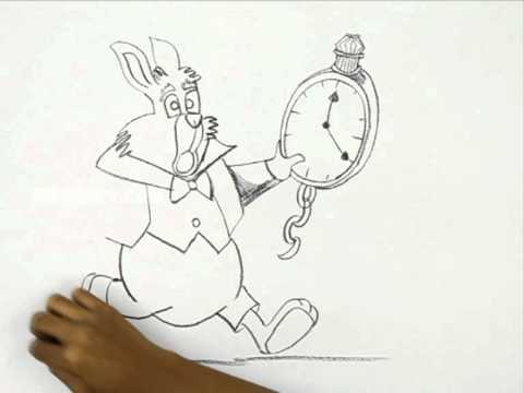 How to draw the white rabbit alice in wonderland