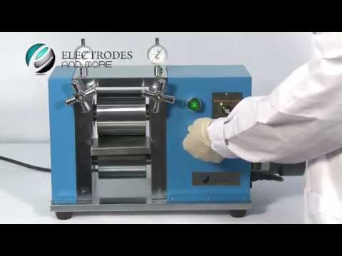Desk Top Calendering Machine Lithium On Battery Electrodes Pressing Operational Video