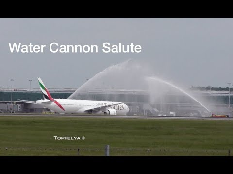 Spectacular Water Canon Salute Boeing 777 300 ER Emirates Airline Stansted Airport