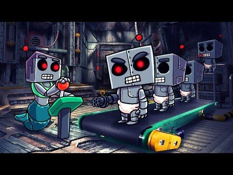 Minecraft   Who's Your Daddy? Robo Mom Creates BABY ROBOTS! (Robot Army Attacks)