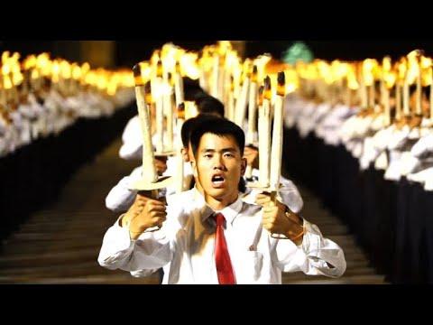 North Korean light show: massive torch parade held in Pyongyang