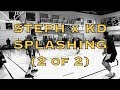 2of2: Steph Curry x KD (Kevin Durant) splashing after practice at beginning of media availability