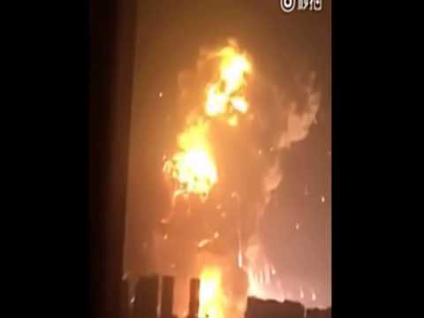 Terrible - The explosion (Before and after) in Tianjin Binhai New Area in China - August 12, 2015.