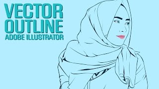 Outline Vector Hijab Adobe Illustrator