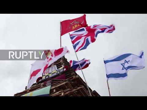 UK: Hundreds Cheer As British And Israeli Flags Burn In Derry