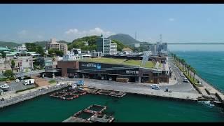 [4Kドローン空撮]下関の唐戸市場や海響館付近