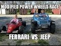 Ferrari F1 Vs. Jeep Hurricane - Awesome 18 Volt Custom Power Wheels Race - Modified Racing