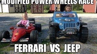 Ferrari F1 Vs. Jeep Hurricane - Awesome 18 Volt Custom Power Wheels Race - Modified Racing