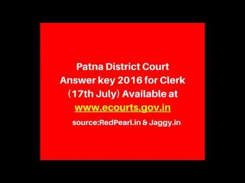 Patna District Court Answer key 2016 | Clerk(17th July) Available | RedPearl