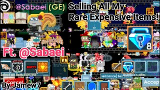 Selling All My Rare Expensive Items! + (I GOT 8 BLUE GEM LOCK!) Ft. @Sabaei OMG! - Growtopia
