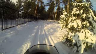 Снегоход ТАЙГА АТАКА 551 II в поле и в лесу