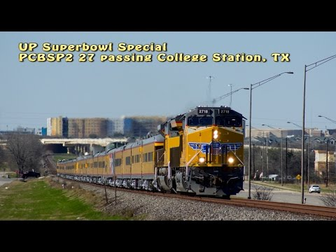 Union Pacific Railroad Superbowl passenger special leaving College Station Texas