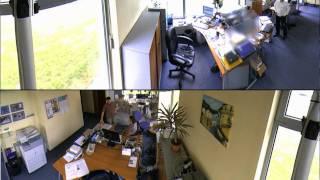 Telewizja przemysłowa obraz z kamery 360 stopni.