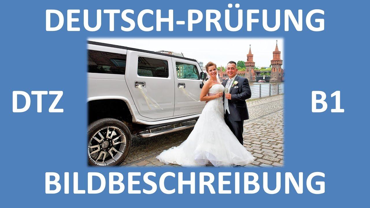 B1-Prüfung (DTZ) -- mündliche Prüfung -- Bildbeschreibung (Hochzeit,  Brautpaar) -- Deutsch lernen