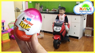 Easter egg hunt surprise eggs Kid rides motorbike and brushing teeth before bed time Xavi ABC kids