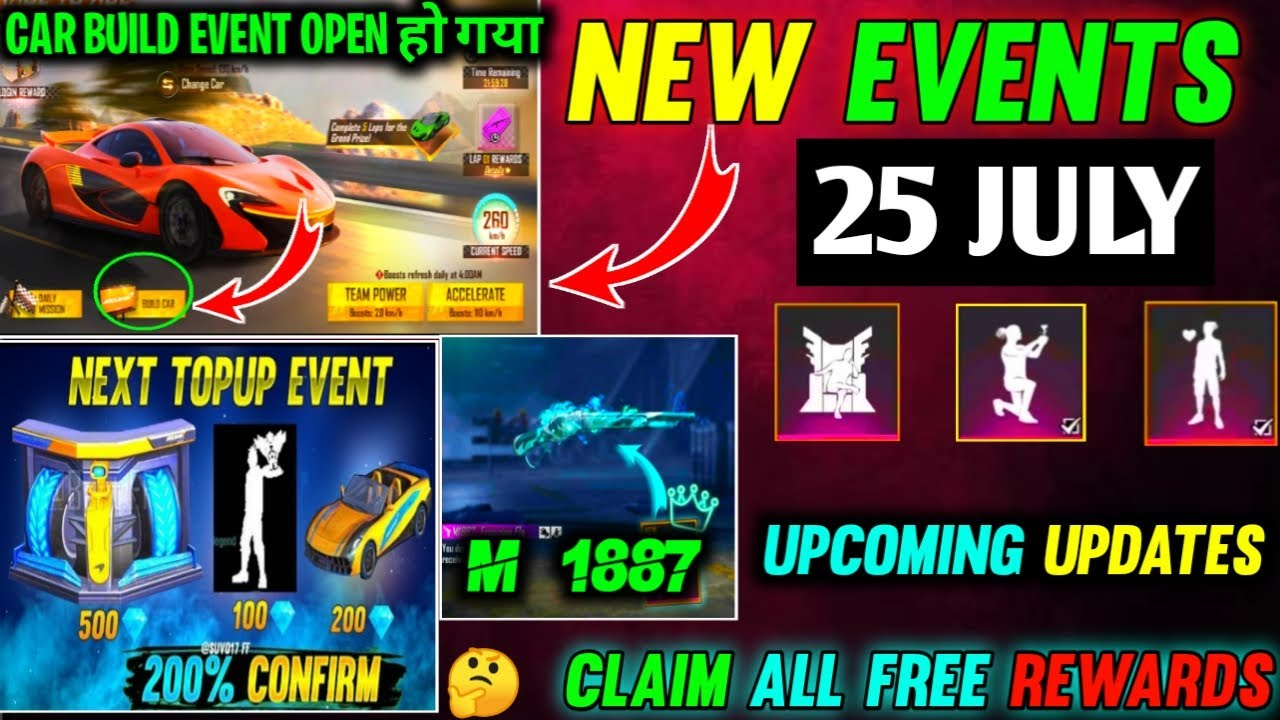 FREE FIRE NEW EVENT | 25 JULY NEW EVENT | FREE FIRE NEW UPDATE | FF NEW EVENT | CAR BUILD EVENT FF